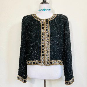 Vintage 1980s Beaded Sequined Evening Jacket